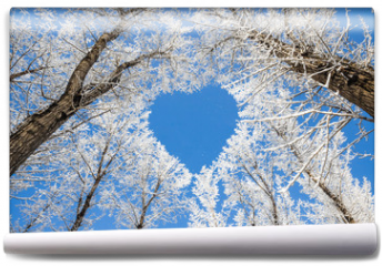 Fototapeta - Winter landscape,branches form a heart-shaped pattern