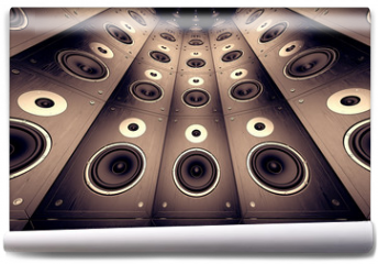Fototapeta - Wall of speakers.