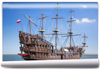Fototapeta - Pirate galleon ship on the water of Baltic Sea in Gdynia, Poland