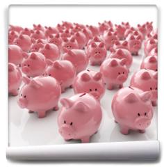 Fototapeta - Sparschweine Gruppe - Geld sparen / 3D Illustration