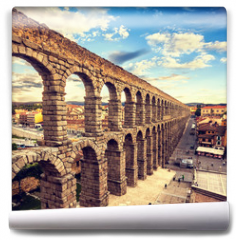 Fototapeta - The famous ancient aqueduct in Segovia, Castilla y Leon, Spain
