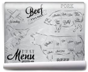 Fototapeta - Illustration of a vintage graphic element on the menu for meat