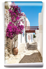 Fototapeta - Traditional greek alley on Sifnos island, Greece