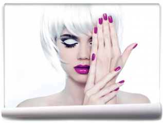 Fototapeta - Makeup and Manicured polish nails. Fashion Style Beauty Woman Po
