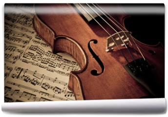 Fototapeta - Geige mit Notenblatt