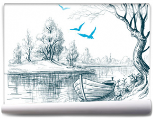 Fototapeta - Boat on river / delta vector sketch