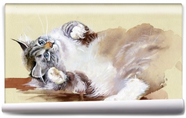 Fototapeta - Watercolor Animal Collection: Cat
