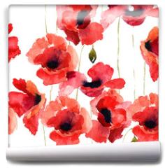 Fototapeta - Stylized Poppy flowers illustration