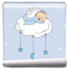Fototapeta - baby boy sleeping on a cloud. Birthday Card