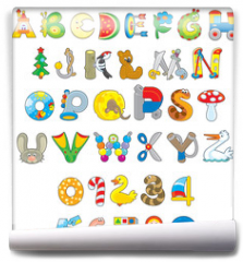 Fototapeta - English alphabet and numerals with toys