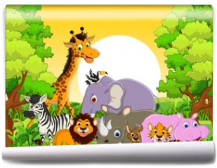 Fototapeta - cute animal wildlife with forest background