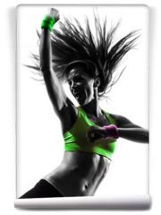 Fototapeta - woman exercising fitness zumba dancing silhouette