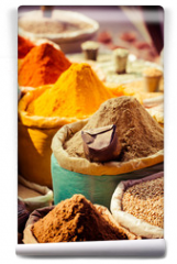 Fototapeta - Traditional spices and dry fruits in local bazaar in India.