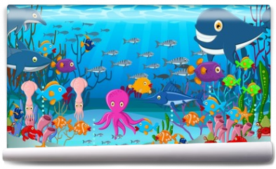 Fototapeta - Sea life cartoon background