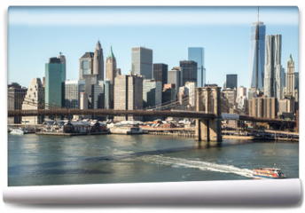 Fototapeta - New York City Brooklyn Bridge downtown skyline