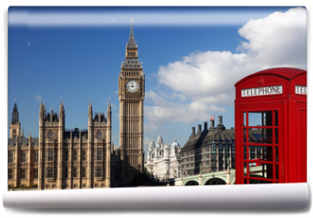 Fototapeta - Big Ben with red telephone box in London, England