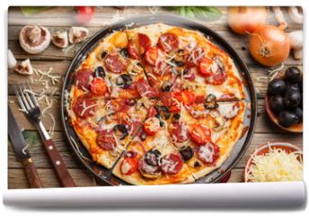 Fototapeta - Fresh baked pizza