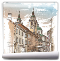 Fototapeta - Vector drawing of central street of old european town