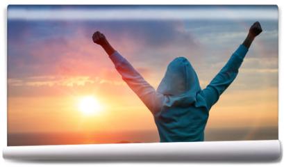 Fototapeta - Sport success on sunset background