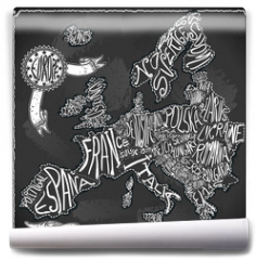 Fototapeta - Europe Map Vintage Handwriting BlackBoard Vector