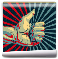 Fototapeta - Hand showing thumbs up, vector Eps10 illustration.