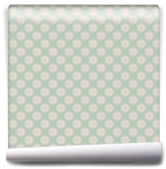 Fototapeta - Floral vector seamless pattern with dots (tiling).
