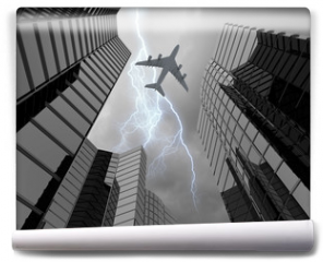 Fototapeta - Airplane above city