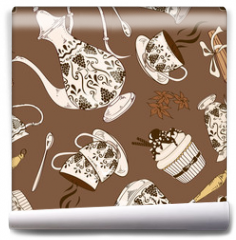 Fototapeta - Seamless pattern of coffee service