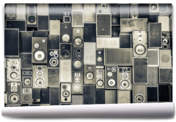 Fototapeta - Music speakers on the wall in monochrome vintage style
