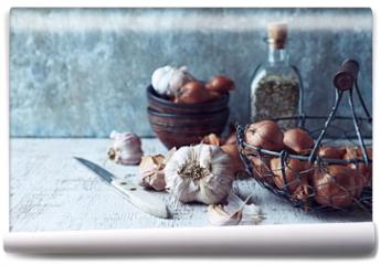Fototapeta - Still Life with Shallots and Garlic