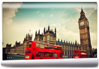 Fototapeta - London, the UK. Red bus in motion and Big Ben