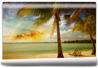 Fototapeta - Beautiful marine landscape with tree on a pristine beach