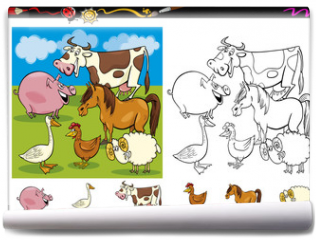 Fototapeta - farm animals coloring page set