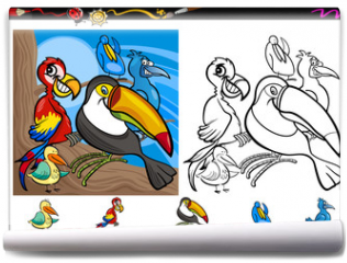 Fototapeta - exotic birds cartoon coloring page set