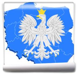Fototapeta - godło Polski i mapa