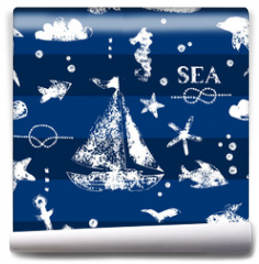 Fototapeta - White print boat and fishes on navy blueseamless pattern