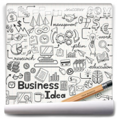 Fototapeta - Business Idea doodles icons set. Vector illustration.