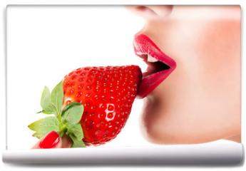 Fototapeta - sexy woman eating strawberry, sensual red lips
