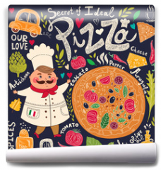 Fototapeta - Pizza design menu with chef