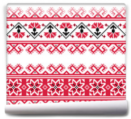 Fototapeta - Ukrainian, Slavic red and grey traditional seamless folk pattern