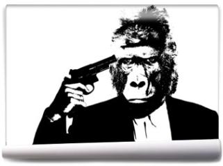 Fototapeta - Suicide man with gorilla head