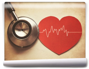 Fototapeta - heart and stethoscope