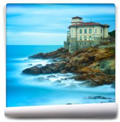Fototapeta - Boccale castle landmark on cliff rock and sea. Tuscany, Italy. L