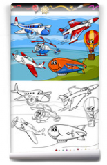 Fototapeta - planes and aircraft cartoon coloring book