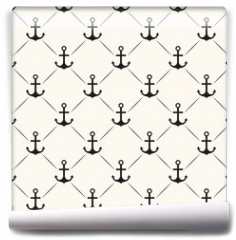 Fototapeta - Seamless vector pattern of anchor shape and line