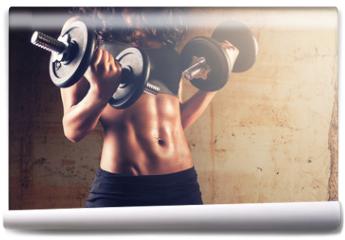 Fototapeta - Strong body woman workout