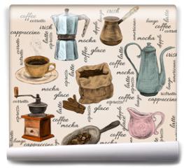 Fototapeta - Vintage coffee handdrawn set