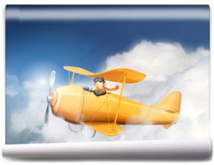 Fototapeta - Aircraft in the clouds, vector illustration
