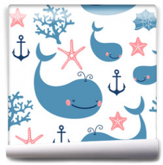 Fototapeta - Seamless pattern with cute whales.