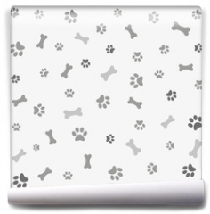 Fototapeta - Background with dog paw print and bone